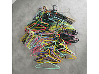 Large Bundle of Durable Plastic Coat Hangers / Over 100 - Swivel & Static Heads