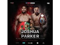 2 Tickets Anthony Joshua V Parker, VIP Ringside, full corporate package