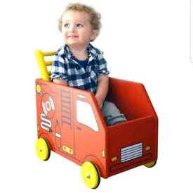 IM TOY Wooden Fire engine push along baby walker storage toy