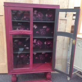 Vintage glass cabinet painted in Frenchic Plum pudding chalk paint