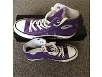 Converse all star purple high tops size 4