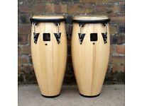 pair of latin percussion LP aspire conga drums natural wood.