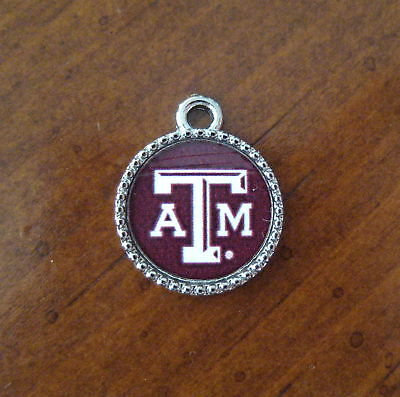 new! Texas A&M University Aggies PEWTER CHARM bead bracelet fan jewelry gift