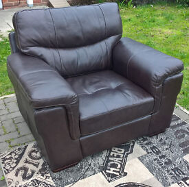 Ex-display Dayson Chestnut Brown Leather Arm Chair.