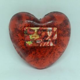 Handmade Strawberry scented soap, EXTRA GENTLE, Mildly exfoliate, heart shaped, by Heaven Senses