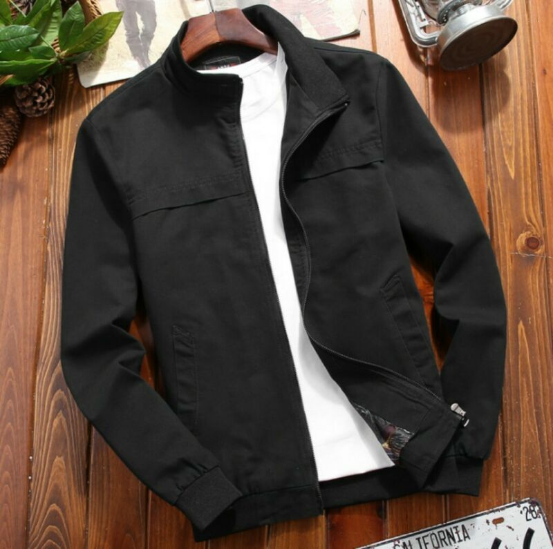 Spring Mens Bomber Jacket Stand Collar Cotton Outwear Zippe Coat Outerwear Top