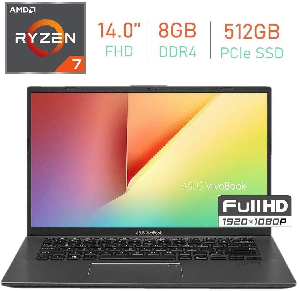 "New ASUS VivoBook Laptop 14"" FHD AMD Ryzen 7-3700U 2.3GHz 8GB Ram 512GB SSD W10"