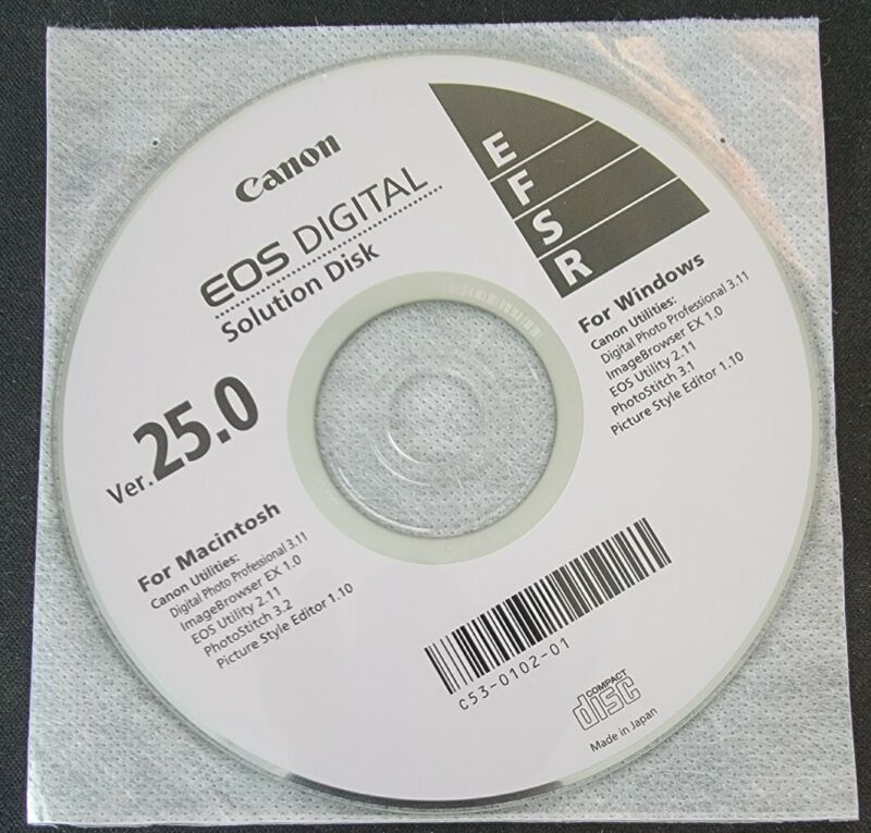 CANON EOS Digital Solution Disk 25.0 CD for Windows and Mac Disc