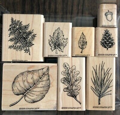 Stampin Up Rubber Stamp Set FANTASTIC FOLIAGE - Leaves Acorn Fern Pinecone