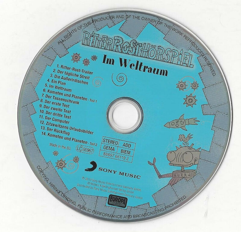 CD, Ritter Rost, Im Weltall, Sony Music, Europa