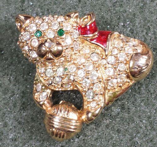 Jewelry Brooch Pin Gold Tone Kitty Cat s Clear Green Glass Rhinestone Christm... - $9.99