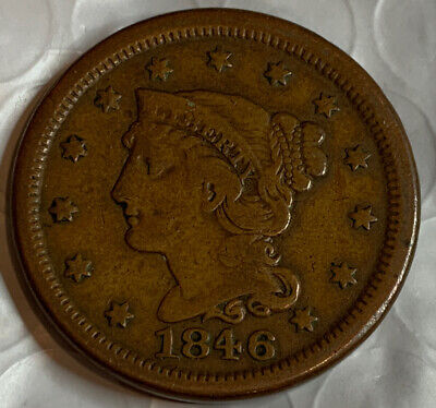 1846, Braided Hair, Large Cent, VF With AU Details, Very Nice Coin To Collect