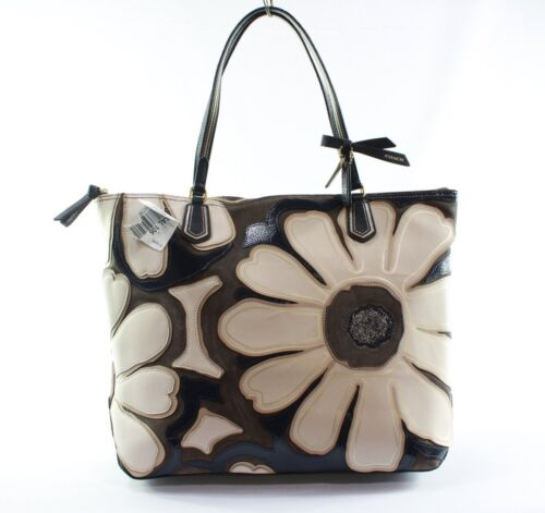 ... COACH Blue White Poppy Elevated Flower Leather Largre Tote Handbag