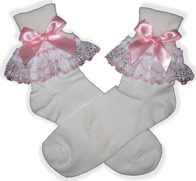 PINK White Lace BOWS Lacy Socks for Adult Little Girl Sissy Boy Dress up LEANNE](Little Boy Dress Up Clothes)