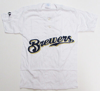 Majestic 2-Button Milwaukee Brewers Replica Youth Jersey 50/50 White YL (R30) ()