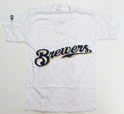 Majestic 2-Button Milwaukee Brewers Replica Youth Jersey 50/50 White YXL (R30) ()
