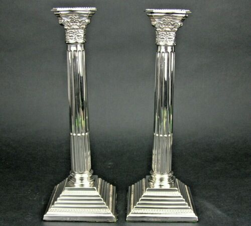 """Pair 1930s English Sterling Silver 11"""" Corinthian Column Candle Holders Sticks"""