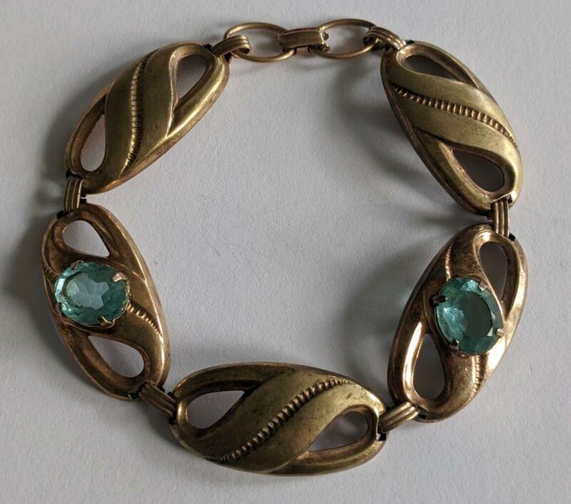 Vintage 12K Gold Filled On Sterling Blue Stone Bracelet