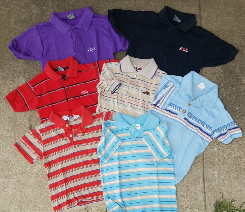 VINTAGE lot of 7 polo style & some  (LeTigre) Boy size 6/7 & 10  80s shirts