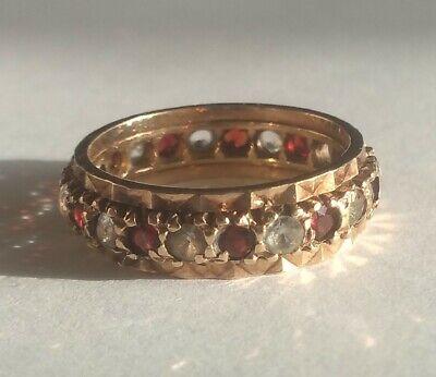 Fine Vintage Solid 9ct Gold 12 Diamond 12 Ruby Eternity Ring Bham 1951 Size K