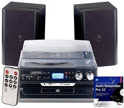 Auvisio 5in1 Plattenspieler Digitalisierer Musikplayer Lautsprecher Bluetooth
