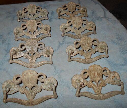 Great Set  8  Ornate  Antique  Cast Metal  Drawer Pulls