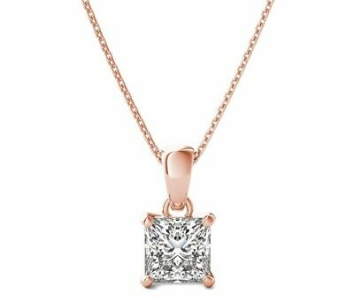 1 Ct Princess Cut Diamond Pendant with Chain Solitaire Necklace 14k Rose Gold - Diamond Princess Cut Solitaire Pendant