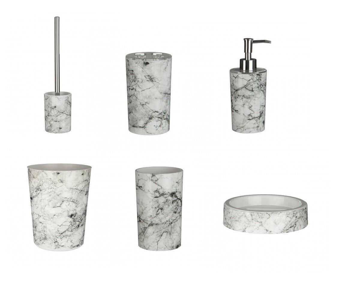 New 6pc Rome Marble Effect Bathroom Accessories Set Abs