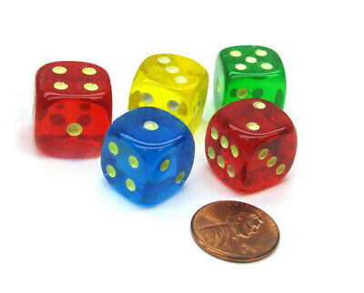 Glow In the Dark Spots Dice - Blue Green  Red Yellow - Set of 5 / 16mm (Red Glow In The Dark)