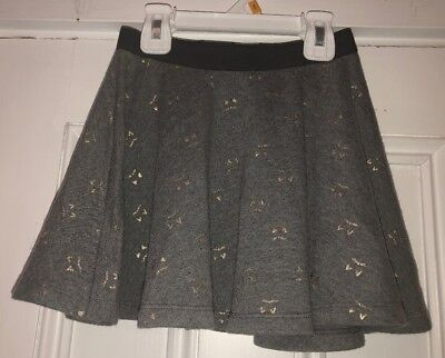Gymboree Girls gray Gold cat face Ears Pull On Skirt Sz 5-6 Small - Cat Face On Halloween