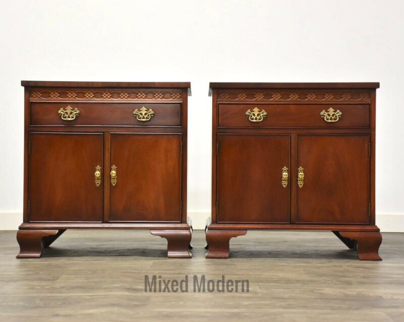 Baker Mahogany Chippendale Style Traditional Nightstands- a Pair