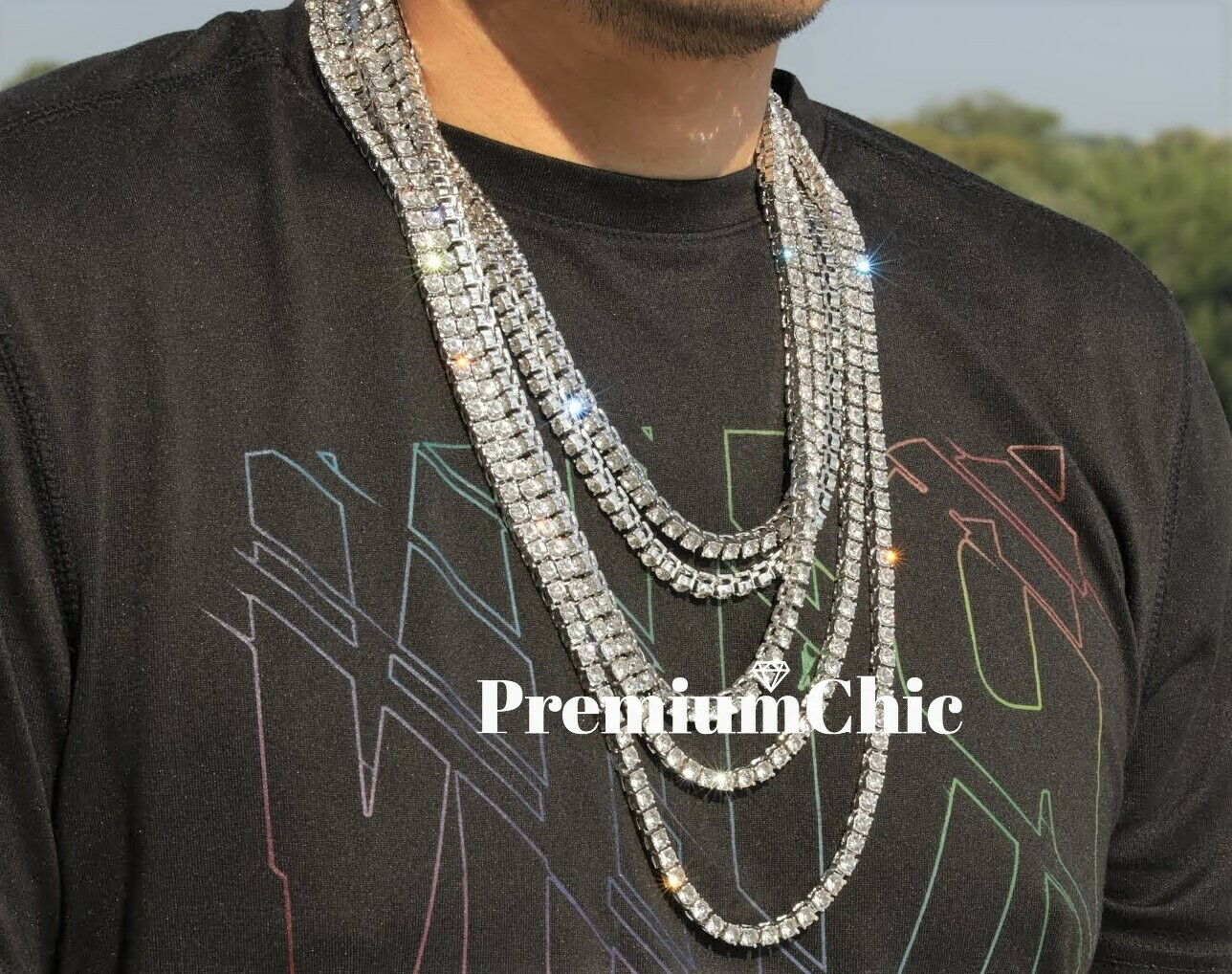 Jewellery - 14k White Gold IP Tennis Chain Choker Clear CZ Stone Mens Hip Hop Necklace