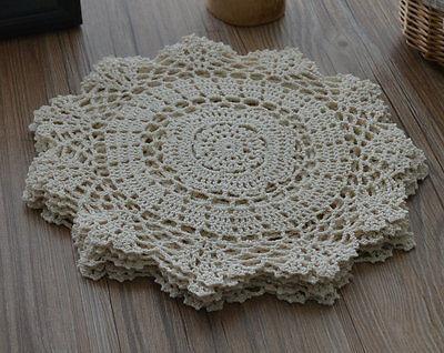 "10"" Round Crochet Lace Cream Doily French Country Ecru Wedding"