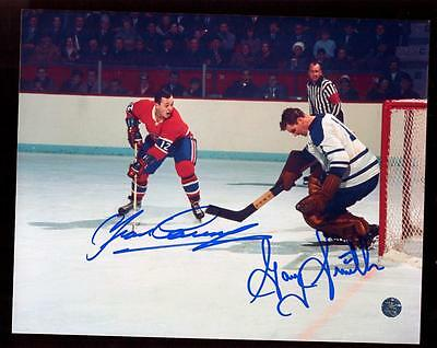 Classic Canadiens Maple Leafs Signed 8x10 Photo Yvan Cournoyer Goalie Gary Smith