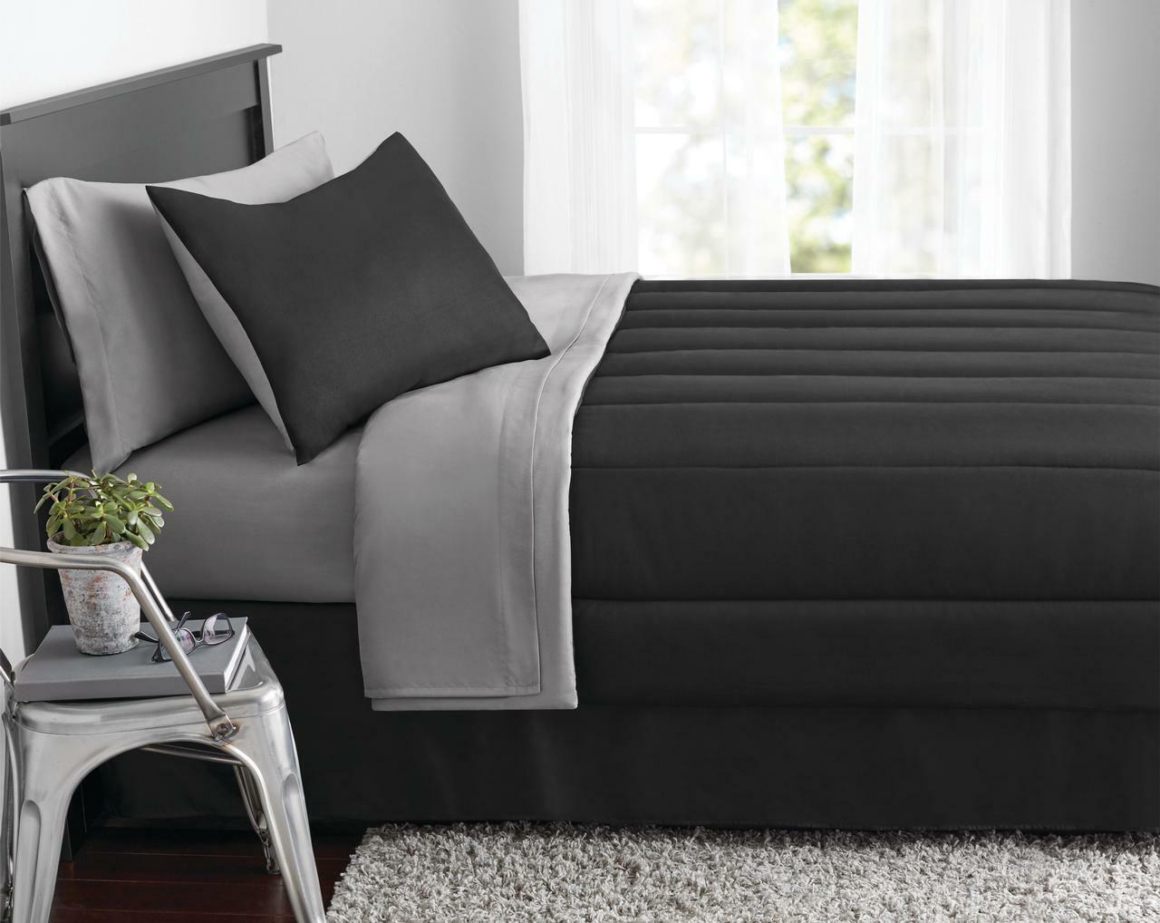 New 8 Piece Black Gray Full Size Comforter Set Bedspread Bed