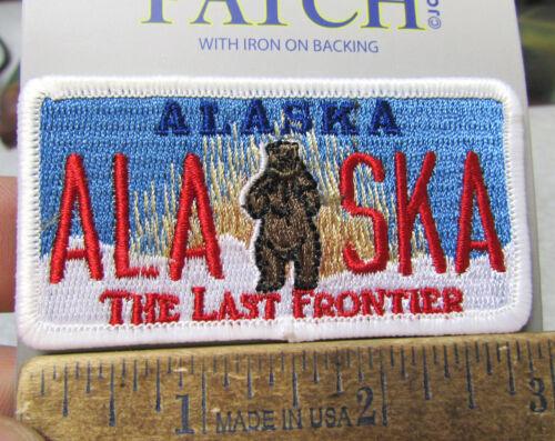 Embroidered Alaska Patch - Alaska Kodiak Bear License Plate Style Patch, NEW