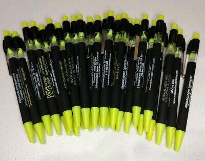 25 Piece Lot Of Misprint Neon Yellow Allure Retractable Click Pens Free Ship