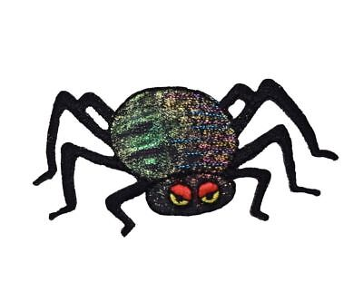 Halloween Black Shimmery Spider Red Eyes Iron on Applique/Embroidered Patch](Red Eyes Halloween)