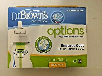 Dr. Browns Natural Flow Options Wide-Neck Baby Bottles 5 oz 3 Pack NEW
