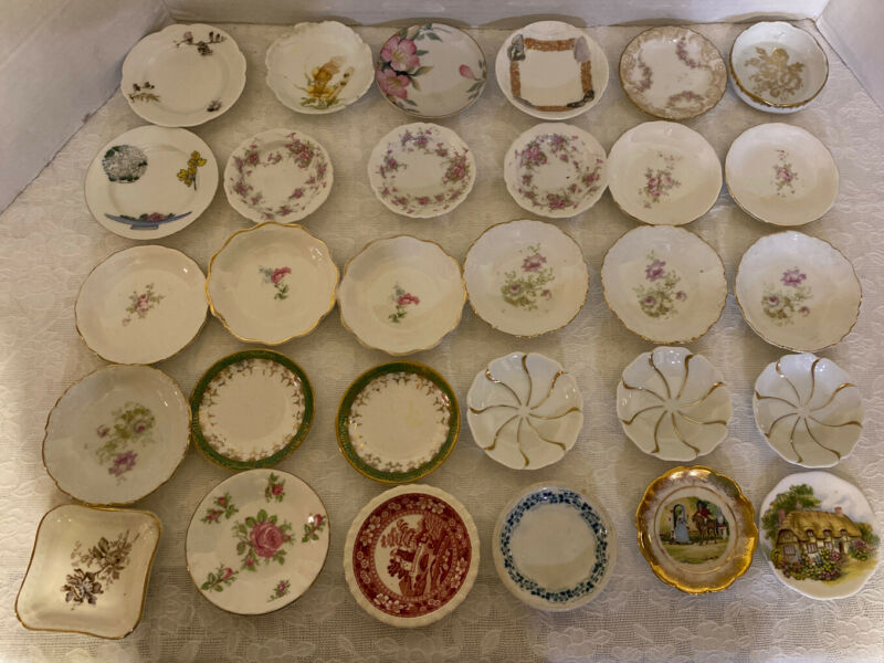 30 Piece Antique Butter Pat Collection Assorted Patterns And Manufacturers