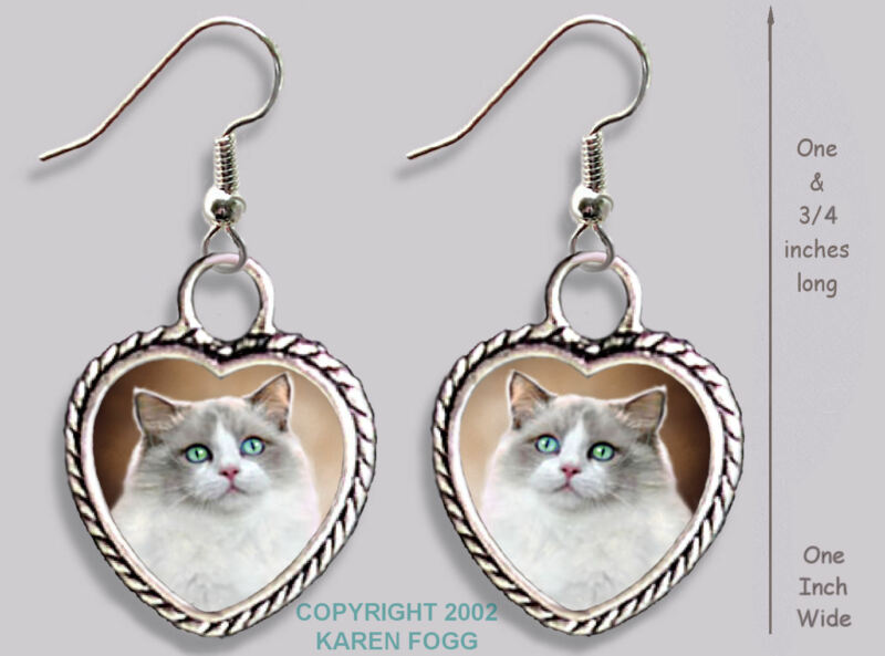RAGDOLL Cat -  HEART EARRINGS Ornate Tibetan Silver