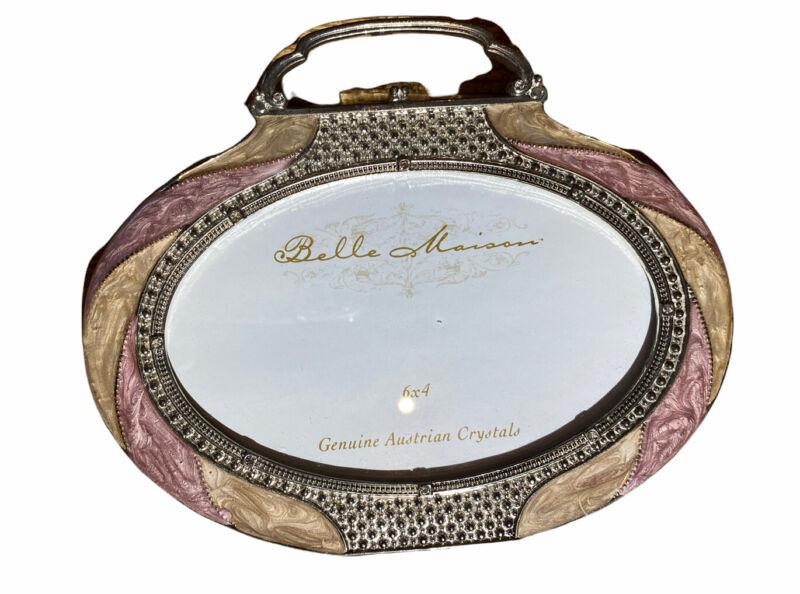 BELLE MAISON Gold Photo Frame Crystals Jeweled Purse Shape 4x6 Size Photo New