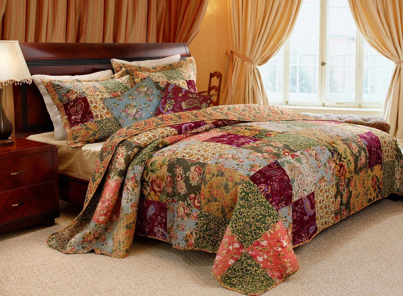 BEAUTIFUL 5 PC PATCHWORK ANTIQUE VINTAGE RED BLUE GREEN QUIL