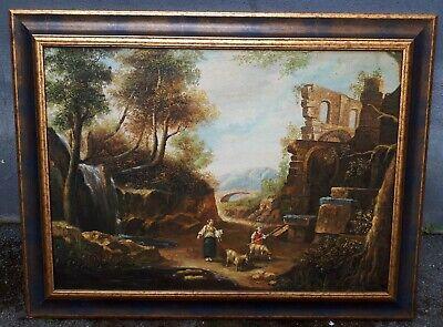 Quadro dipinto antico olio su tela inizi 900 - Paesaggio con pastori - firmato