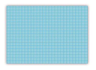 Millimeterpapier DIN A2 Quer-Format, 25 Blatt , links und rechts verleimt (blau)