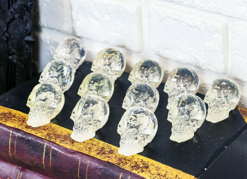 """Ebros Pack Of 12 Clear Translucent Witching Hour Gazing Skull Mini Figures1""""H"""
