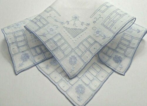 Vintage Appenzell Embroidery Geometric Grid, Drawn & Floral, Delicate Handwork