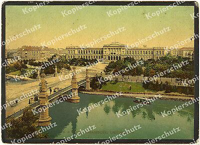 orig Farbfoto Straßburg Kaiser Wilhelm – Universität Ill-Brücke Architektur 1895