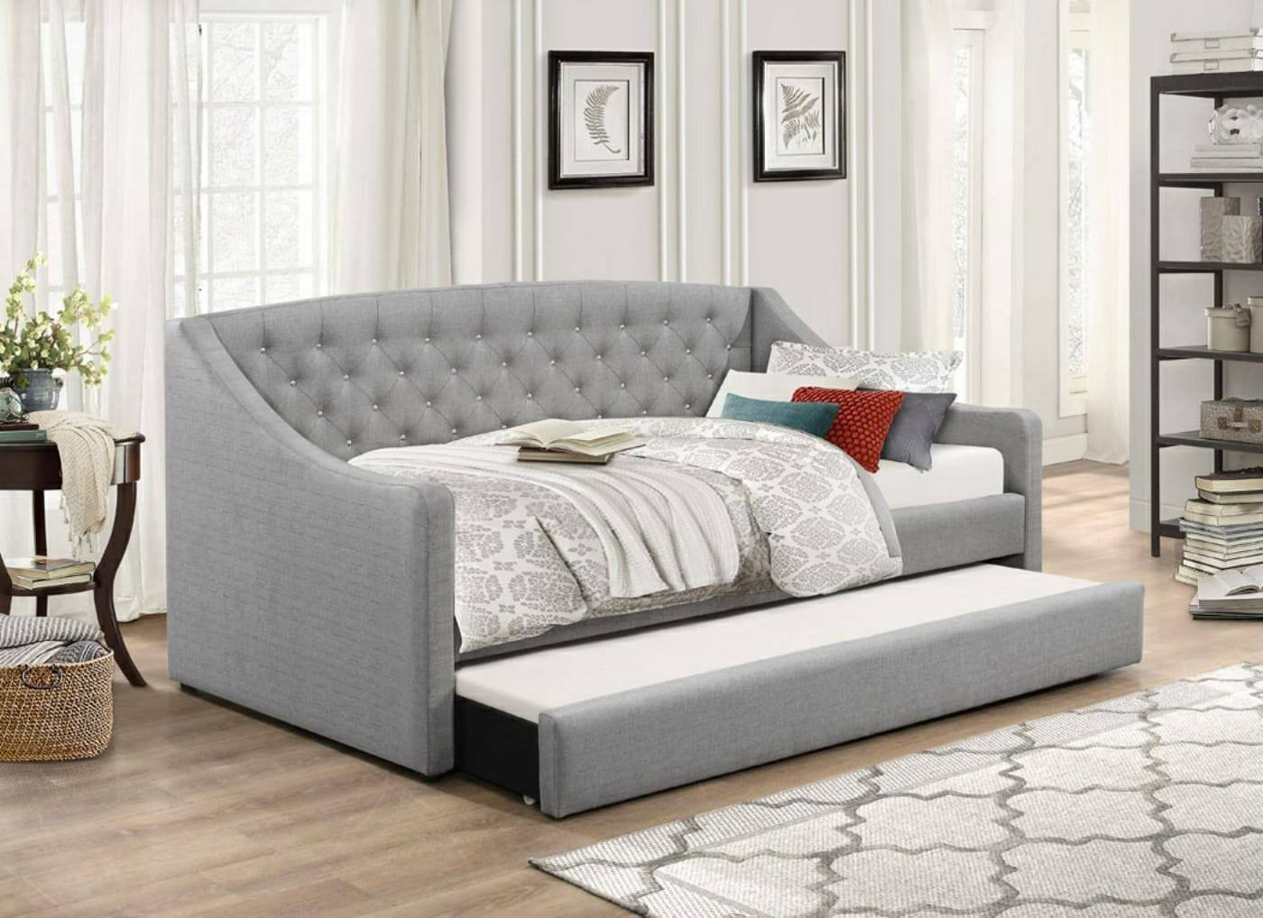 - Aurora Grey Fabric Day Bed Single Storage Drawer Guest Bed Trundle