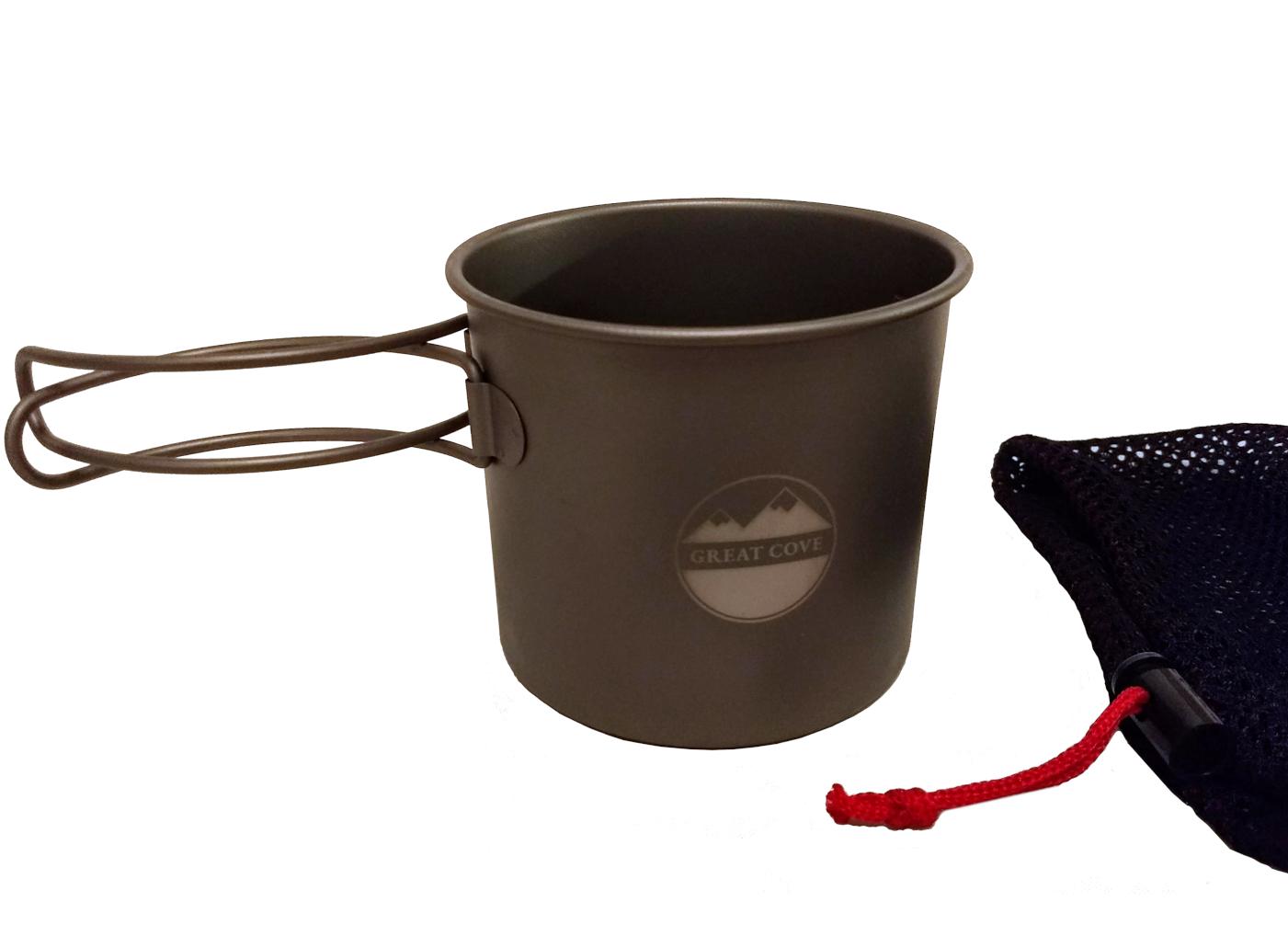 Great Cove Lightweight Titanium Backpacking/Camping 500ml Pot/Mug with mesh bag